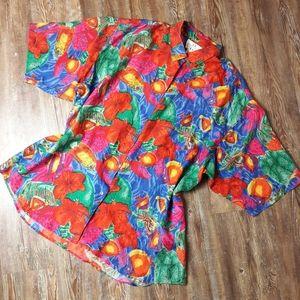 Vintage 90s silk fish tropical button down blouse